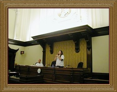 Dora and Eero in Courtroom Three